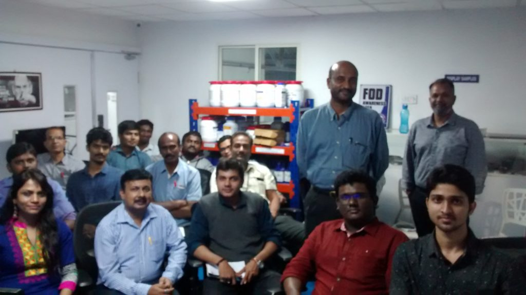 Our trainer with the trainees from Intech dmls, Bengaluru
