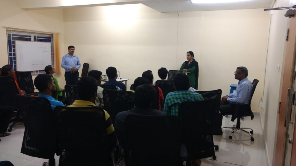 Evaluation session of the training for Sosaley Technologies, Chennai